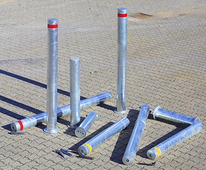 Galvaniserede pullerter til nedstøb med indfræset refleks