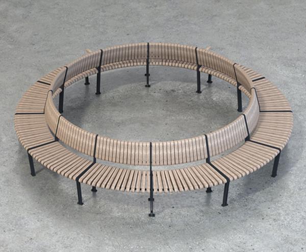 Unik cirkelbænk med rustfri stål rør