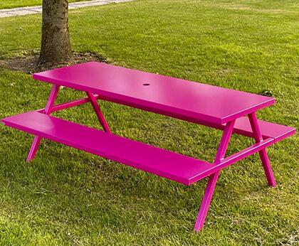 bordbænkesæt i galvaniseret stål og malet i pink