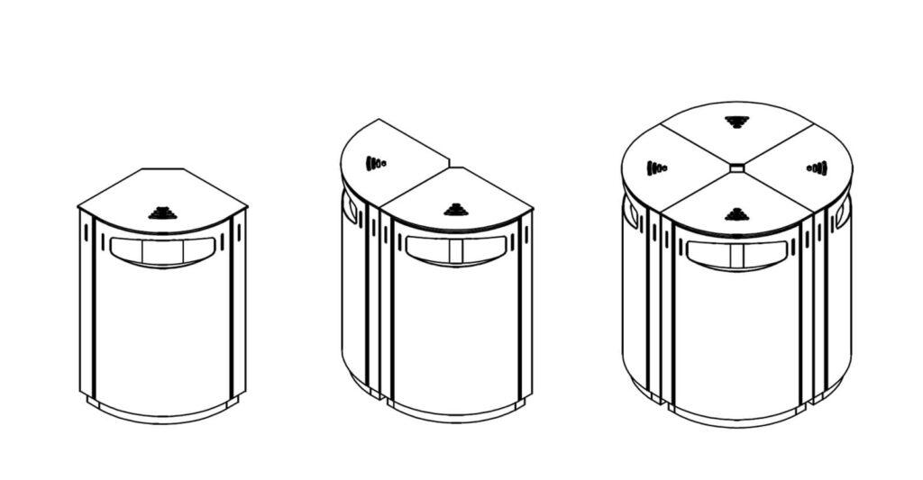 Rund modul affaldssortering