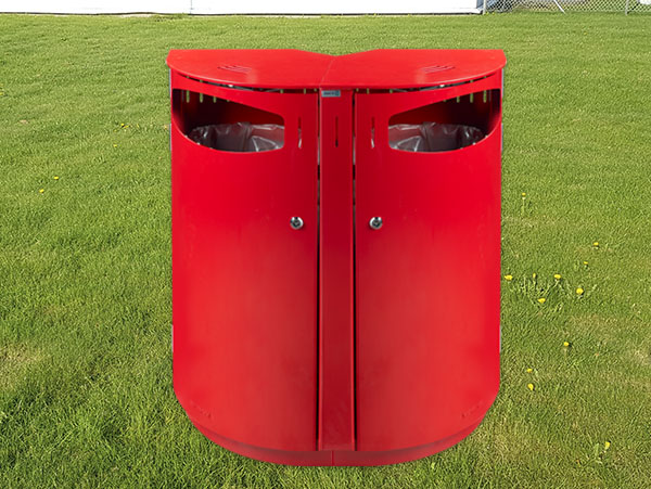 modulopbygget stål skraldespand til affaldssortering