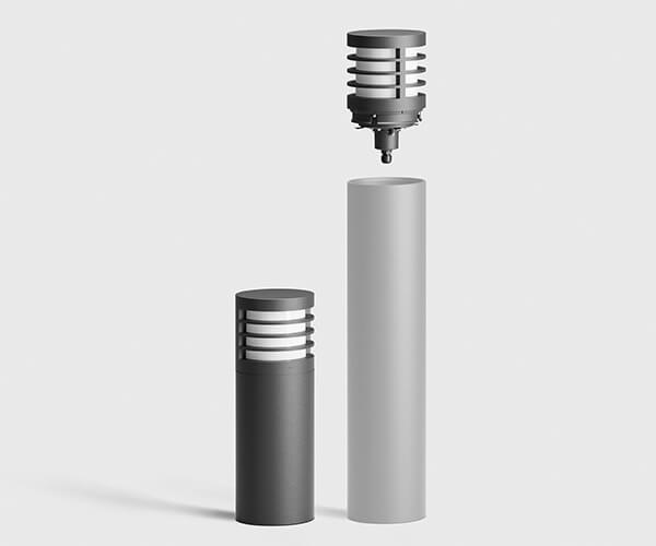 bega pullerter med lys i rustfri stål eller aluminium med udskiftelig top