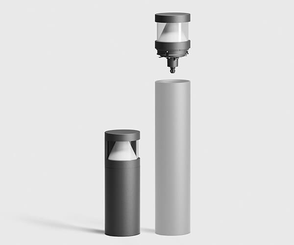 bega gadebelysning pulleter i rustfri stål eller aluminium med udskiftelig top