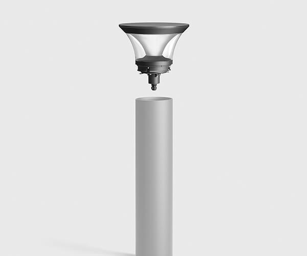 pullerter med lys i rustfri stål eller aluminium med udskiftelig top