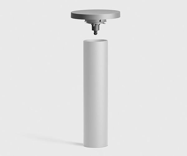 Pullertlampe med reflekterende lys i rustfri stål eller aluminium med udskiftelig top
