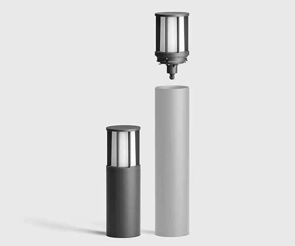 pullerter med lys i rustfri stål eller aluminium med udskiftelig top med lodret beskyttelsesgitter