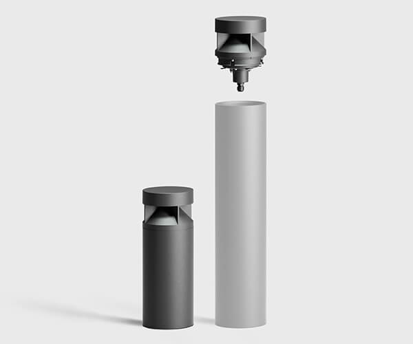 pullerter med lys i rustfri stål eller aluminium med beskyttet udskiftelig top