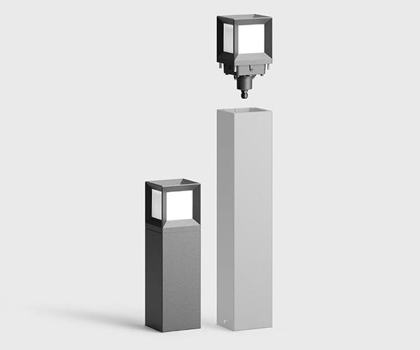 Kvadratiske pullerter med lys i rustfri stål eller aluminium med udskiftelig top