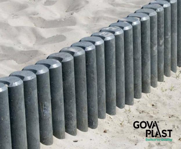Palisader GOVA home+ PLAST vedligeholdsfrit recycling genbrugsplast. Forhandler BY BANG palisader, palisade, kant, bed, gå-på-line, stolper