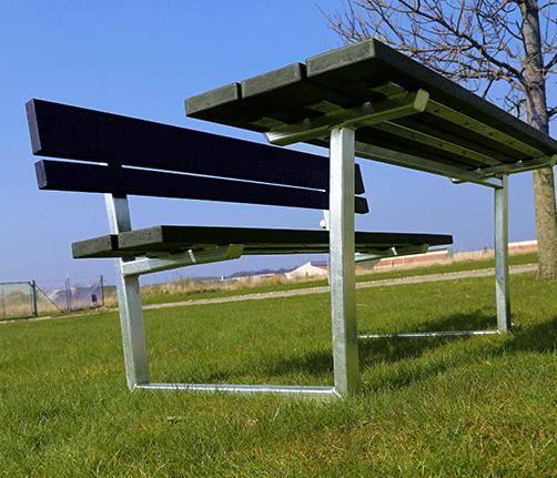 udsigtsbænk, Bordbænk panca fra BY BANG i recyclingplast eller hårdttræ