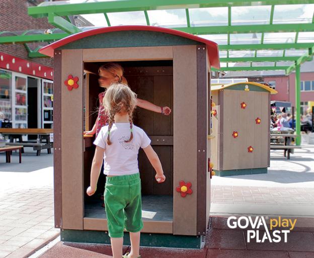Legehus GOVA play PLAST. Vedligeholdesfrit genbrugsplast. Legeplads, skolegård, børnehave, vuggesture, park plads forhandler BY BANG