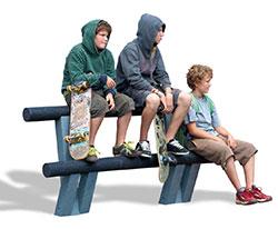 level x, bænk, ungdoms-bænk, skateboard, uderum, park, unge, børn, genrbugsplast, recyclingplast